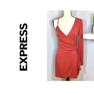 Red One Shoulder Wrap Dress by Express Sz 2 NWT